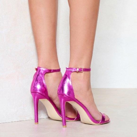 83c352a2a8ba Nasty Gal Hot Pink Metallic open toe Heels sz 8
